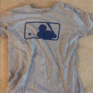 Large grey MLB logo t-shirt